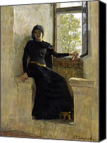 Signed Painting Canvas Prints - Waiting Canvas Print by Jean Pierre Laurens
