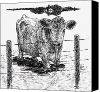 Cow Drawings Canvas Prints - Waiting Canvas Print by Lonnie Tapia
