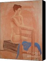 Female Figure  Drawings Canvas Prints - Waiting Naturally Canvas Print by Lj Lambert