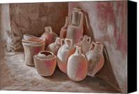 Clay Pastels Canvas Prints - Waiting To Be Used Canvas Print by Keith Gantos