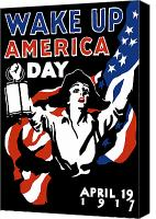 One Mixed Media Canvas Prints - Wake Up America Day Canvas Print by War Is Hell Store