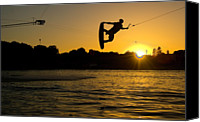 Leisure Canvas Prints - Wakeboarder At Sunset Canvas Print by Andreas Mohaupt
