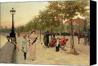 Sat Canvas Prints - Walk along the Embankment at Chelsea Canvas Print by Frederick Brown