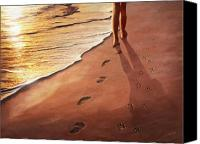 Dogs Painting Canvas Prints - Walk Beside Me Canvas Print by Cliff Hawley