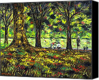 Giclee Trees Canvas Prints - Walk In The Park Canvas Print by John  Nolan