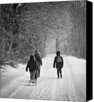 Fineartam Canvas Prints - Walk in the snow Canvas Print by Michael Avory