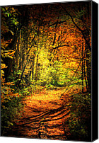Fall Scenes Canvas Prints - Walk The Trail Canvas Print by Emily Stauring