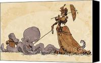 Steampunk Canvas Prints - Walkies for Otto Canvas Print by Brian Kesinger