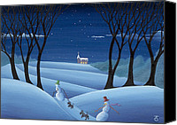 Winter Prints Painting Canvas Prints - Walkin the Dogs Canvas Print by Thomas Griffin