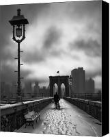 Nyc Canvas Prints - Walking Home Canvas Print by June Marie Sobrito