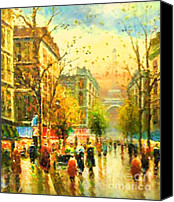 Impressionism Art Mixed Media Canvas Prints - Walking In The Rain Canvas Print by Zeana Romanovna