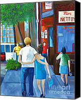 Quebec Painting Canvas Prints - Walking on a Sunny Day Canvas Print by Reb Frost
