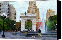 Washington Square Canvas Prints - Walking the Dog at Washington Square Park Canvas Print by Randy Aveille