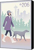 Mitch Frey Canvas Prints - Walking the Dog in Seattle Canvas Print by Mitch Frey