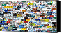 Rusted Cars Canvas Prints - Wall of American License Plates Canvas Print by Christine Till