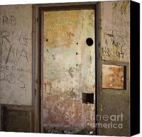 Dilapidated House Canvas Prints - Walls with graffiti in an abandoned house. Canvas Print by Bernard Jaubert