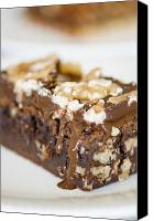 Serve Photo Canvas Prints - Walnut brownie on a white plate Canvas Print by Ulrich Schade
