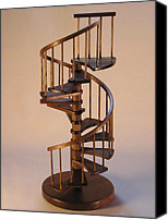 Spiral Staircase Sculpture Canvas Prints - Walnut spiral staircase  Canvas Print by Don Lorenzen