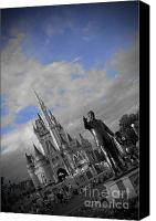 Black And White Pyrography Canvas Prints - Walt Disney World - Partners Statue Canvas Print by AK Photography