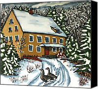 Winter Tapestries - Textiles Canvas Prints - Wandering Geese Canvas Print by Linda Marcille