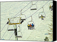 Skiing Prints Canvas Prints - Wanna Lift Canvas Print by Wendy McKennon
