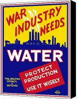 United States Mixed Media Canvas Prints - War Industry Needs Water Canvas Print by War Is Hell Store