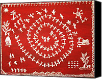 Dogs Tapestries - Textiles Canvas Prints - Warli art Canvas Print by Renuka Thoppae