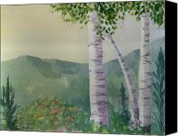 Mountain Scene Mixed Media Canvas Prints - Warm Sky Aspens Canvas Print by Kelly Miller