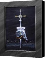 Dark Painting Canvas Prints - Warriors Canvas Print by Cliff Hawley