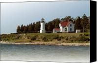 Lighthouse Pyrography Canvas Prints - Warwick Neck Lighthouse Canvas Print by Thomas Theroux