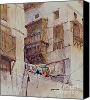 Saudi Canvas Prints - Washday Jeddah Canvas Print by Dorothy Boyer