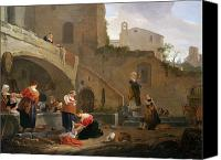 Ruin Painting Canvas Prints - Washerwomen by a Roman Fountain Canvas Print by Thomas Wyck