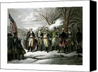 Founding Father Drawings Canvas Prints - Washington and His Generals  Canvas Print by War Is Hell Store