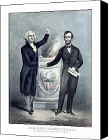 Founding Father Drawings Canvas Prints - Washington and Lincoln Canvas Print by War Is Hell Store