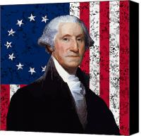 Founding Father Canvas Prints - Washington and The American Flag Canvas Print by War Is Hell Store