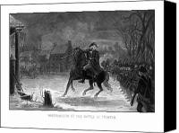 Battle Drawings Canvas Prints - Washington At The Battle Of Trenton Canvas Print by War Is Hell Store