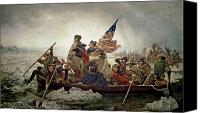 Oil On Canvas Canvas Prints - Washington Crossing the Delaware River Canvas Print by Emanuel Gottlieb Leutze