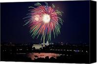 4th July Canvas Prints - Washington DC Fourth of July Fireworks Canvas Print by Carol M Highsmith