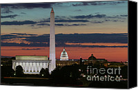 Washington Dc Canvas Prints - Washington DC Landmarks at Sunrise I Canvas Print by Clarence Holmes