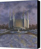 Winter Canvas Prints - Washington DC Temple Canvas Print by Jeff Brimley