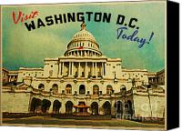 D.c. Digital Art Canvas Prints - Washington D.C. White House Canvas Print by Vintage Poster Designs