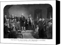Warishellstore Drawings Canvas Prints - Washington Delivering His Inaugural Address Canvas Print by War Is Hell Store