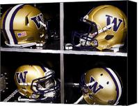 Team Canvas Prints - Washington Huskies Football Helmets  Canvas Print by Replay Photos
