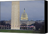 American Flags Canvas Prints - Washington Monument and United States Capitol Buildings - Washington DC Canvas Print by Brendan Reals