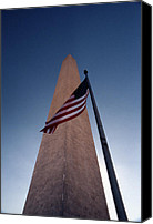 Flag Pole Canvas Prints - Washington Monument Single Flag Canvas Print by Skip Willits