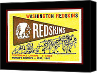 Redskins Canvas Prints - Washington Redskins 1959 Pennant Card Canvas Print by Paul Van Scott