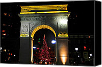 Washington Square Canvas Prints - Washington Square Arch at Christmas Canvas Print by Randy Aveille