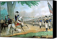 Man And His Horse Canvas Prints - Washington Taking Command Of American Canvas Print by Photo Researchers