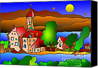 Wasserburg Canvas Prints - Wasserburg Canvas Print by Wolfgang Karl