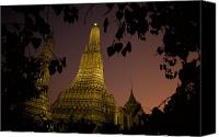 Religious Structures Canvas Prints - Wat Arun, Temple Of The Dawn, At Sunset Canvas Print by Paul Chesley